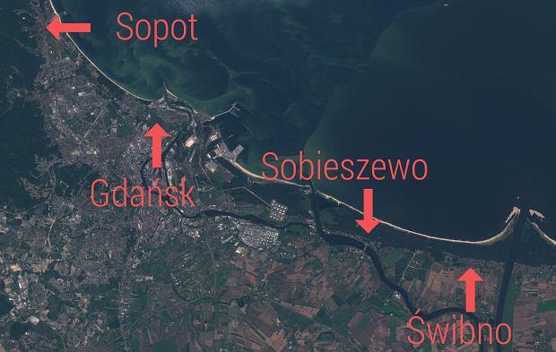 Bałtyk, 27 lipca. Widok na morze z sinicami z satelity