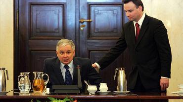Prezydent Lech Kaczyński i minister Andrzej Duda w styczniu 2008 r.