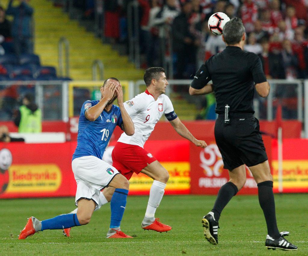 Robert Lewandowski podczas meczu Polska - Włochy. Chorzów, Stadion Śląski, 14 października 2018