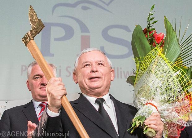 Jarosław Kaczyński na konwencji wyborczej w Krakowie