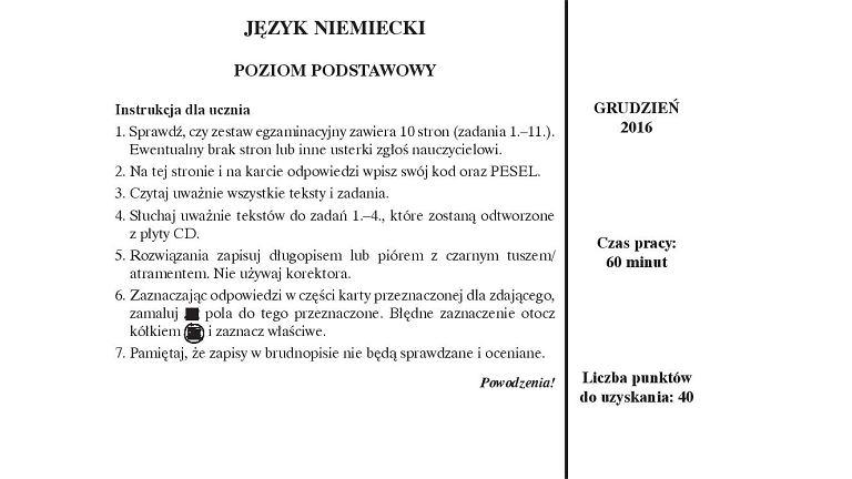 Próbny egzamin gimnazjalny Operon, niemiecki PP, arkusz 1