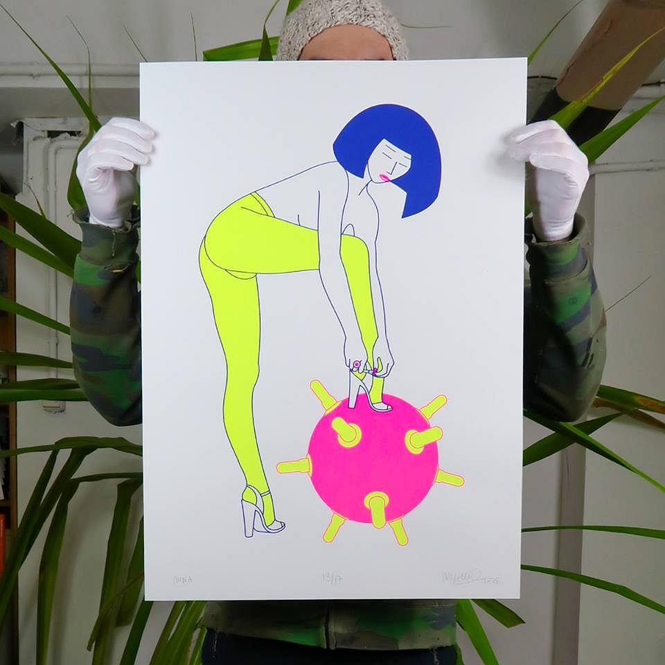 Serigrafia Maurycego Gomulickiego pt. 'Mina' / Kwiaciarnia Grafiki