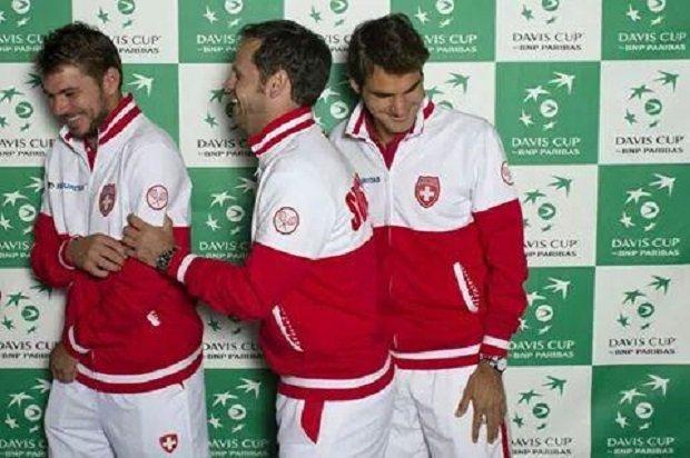 Szwajcarscy tenisici na Pucharze Davisa w Genewie, wrzesień 2014
