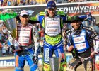 Podium Grand Prix w Daugavpils 2014. Od lewej: Nicki Pedersen, Krzysztof Kasprzak i Greg Hancock