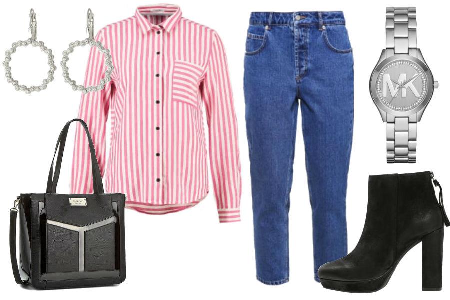 Stylizacja spodnie mom fit z ciemnego jeansu / Kolaż / Materiały partnera