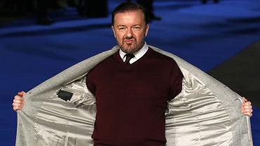 Ricky Gervais podczas europejskiej premiery filmu 'Night at the Museum: Secret of the Tomb' w 2014 r.