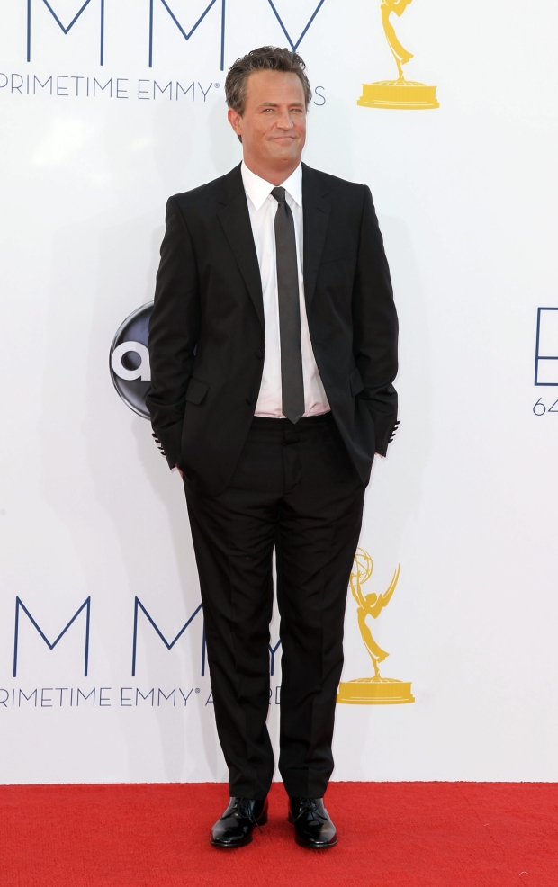 Matthew Perry arrives at the 64th Primetime Emmy Awards at the Nokia Theatre on Sunday, Sept. 23, 2012, in Los Angeles. (Photo by Matt Sayles/Invision/AP)