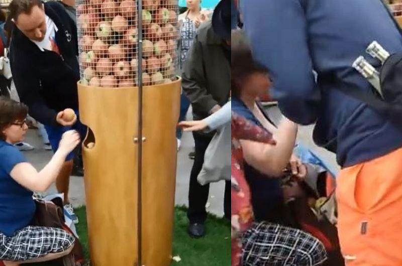 'Chytra baba'' jest też w Lublinie. Na święcie cydru jabłka do torby pakowała kilogramami
