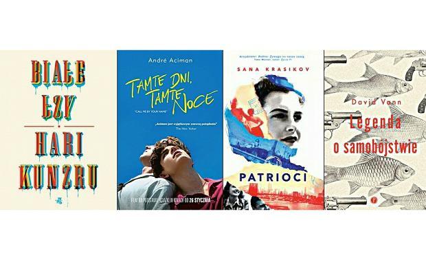 Okładki książek: 'Białe łzy' Hariego Kunzru, 'Tamte dni, tamte noce' André Acimana, 'Patrioci', Sany Krasikov, 'Legenda o samobójstwie' Davida Vanna