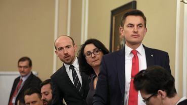 Borys Budka, Kamila Gasiuk-Pihowicz, Arkadiusz Myrcha podczas posiedzenia sejmowej Komisji Sprawiedliwości i Praw Człowieka w sprawie kandydatów do KRS, 5 marca 2018.