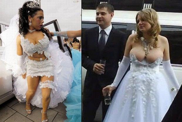 Ka�dej pannie m�odej zale�y, �eby w dniu �lubu wygl�da� jak najpi�kniej. Ale czy ods�oni�te uda, g��bokie dekolty i przezroczysto�ci pasuj� do okazji? Oce�cie sami