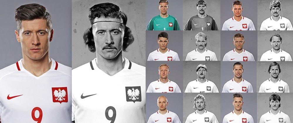 Polscy piłkarze Reprezentacji we fryzurach z czasów Orłów Górskiego