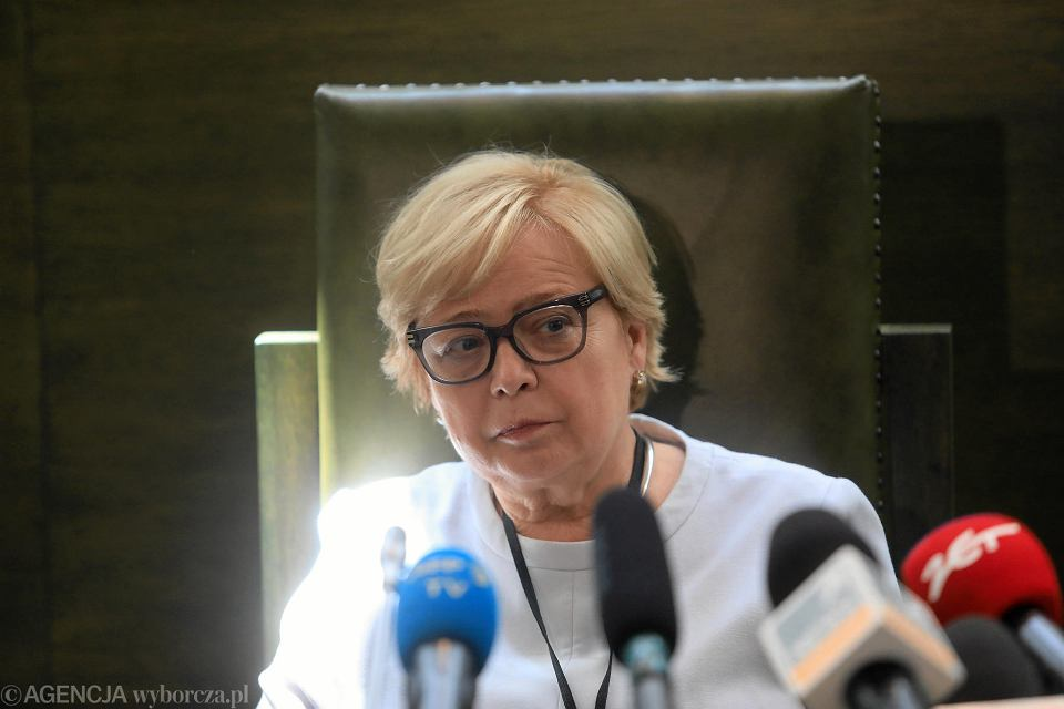 Pierwsza prezes Sądu Najwyższego Małgorzata Gersdorf podczas konferencji. Warszawa, siedziba SN, 4 lipca 2018