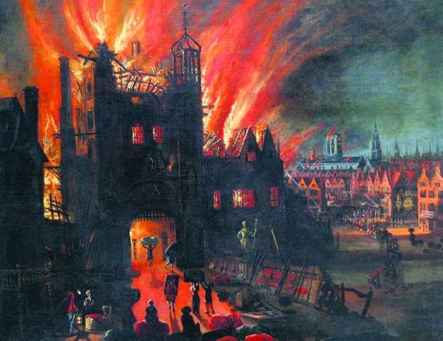 Podczas Wielkiego Pożaru z 1666 r. większość londyńczyków starała się uciec i ratować dobytek - jak na tym namalowanym ok. 1670 r. obrazie, którego autora nie znamy. W głębi płonąca katedra św. Pawła odbudowana po pożarze w innym kształcie. Z szalejącym przez pięć dni ogniem walczyło niewielu