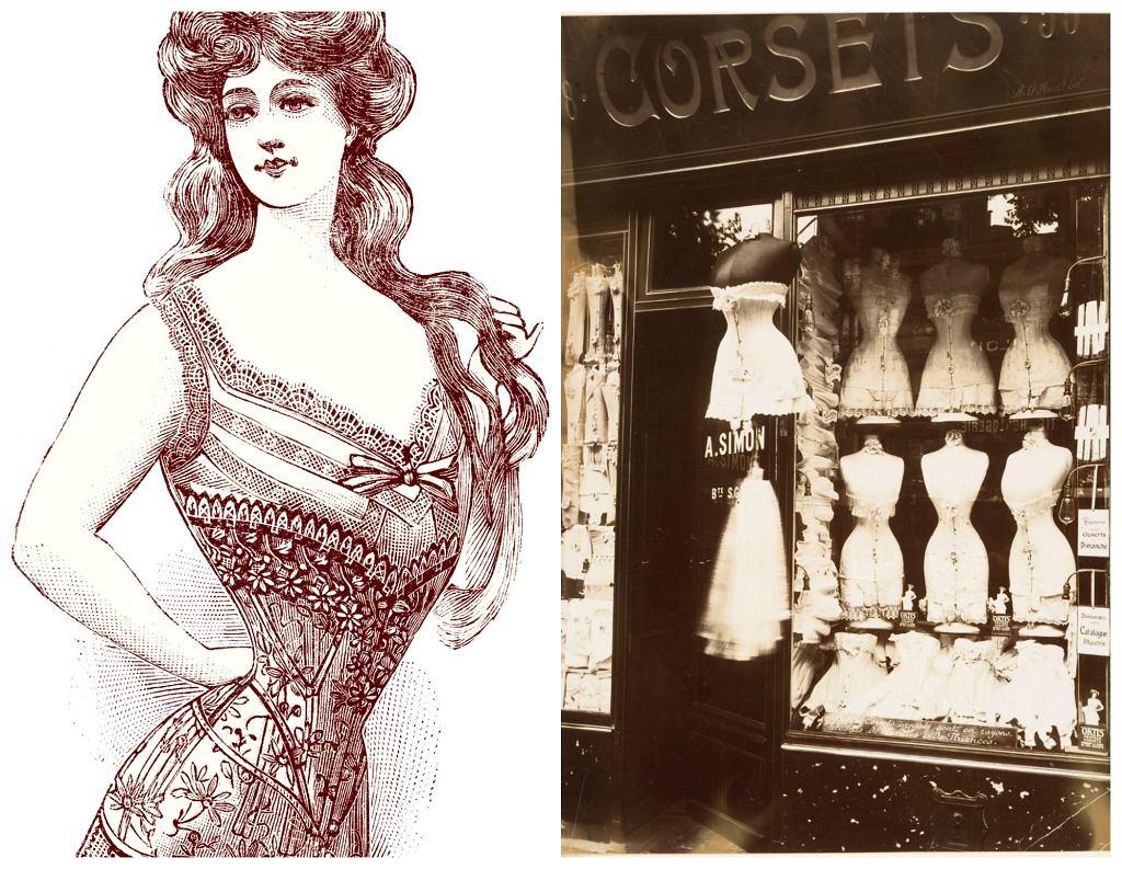 Po lewej rysunek z 1906 r. przedstawiający gorset, który gwarantował upragnioną talię osy. Po prawej jeden ze sklepów z gorsetami przy Boulevard de Strasbourg w Paryżu (fot. Pygmalion / Saison d'Hiver 1906-1907 / str. 42 / Eug?ne Atget / Wikimedia.org / Domena publiczna)
