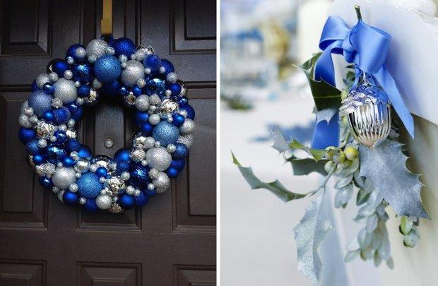 Niebieskie dekoracje świąteczne