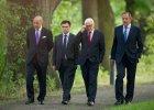 Spotkanie szef�w MSZ w Berlinie. Od lewej minister spraw zagranicznych Francji Laurent Fabius, Ukrainy Paw�o Klimkin, Niemiec Frank-Walter Steinmeier i Rosji - Siergiej �awrow