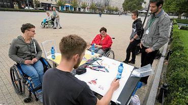 Akcja niepełnosprawnych wolontariuszy na pl. Wolności w Poznaniu