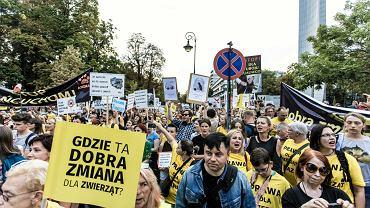 13.09.2018 Warszawa. Demonstracja w obronie praw zwierząt