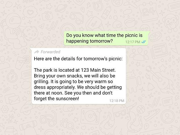 WhatsApp oznacza przekazywane wiadomości
