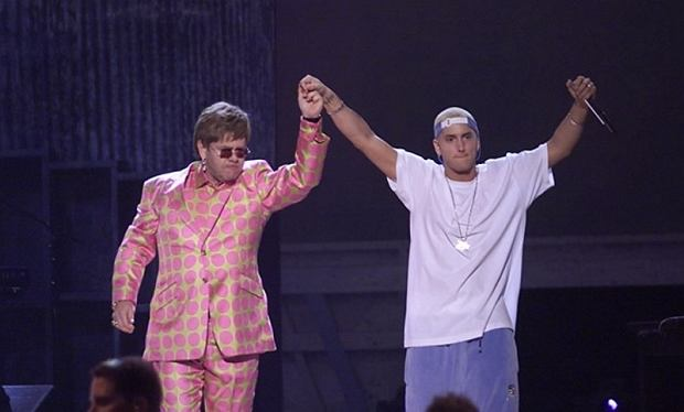 Eminem i sir Elton John podczas Grammy Awards