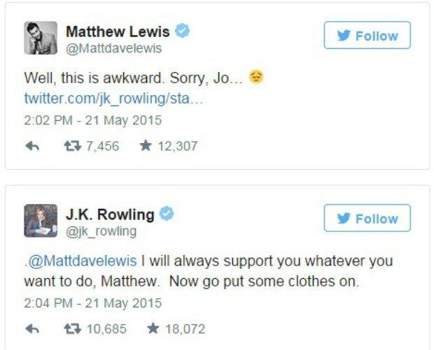 Matthew Lewis i JK Rowling rozmawiają na Twitterze