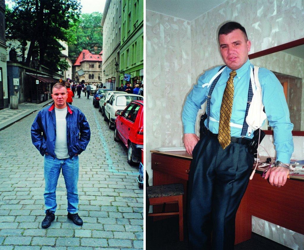 Po prawej w Pradze przed wyjazdem do Hiszpanii - Jarosław Pieczonka tworzy swoją legendę handlarza narkotyków w Czechach.Po lewej - po operacji specjalnej - operator ZBZ z bronią i sprzętem łączności (fot.archiwum prywatne)