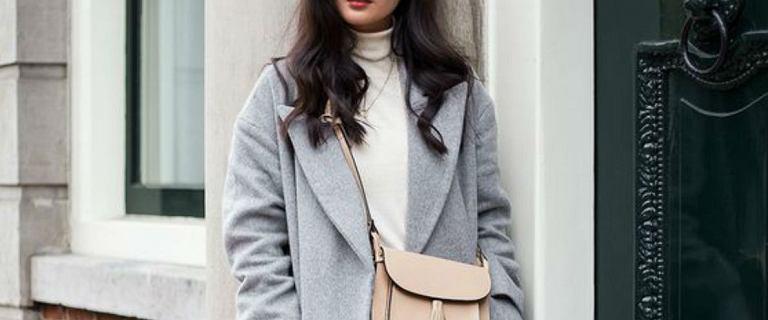 Szary płaszcz na sezon jesienno-zimowy