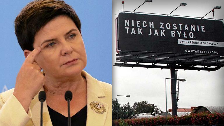 Beata Szydło i jeden z billboardów Polskiej Fundacji Narodowej