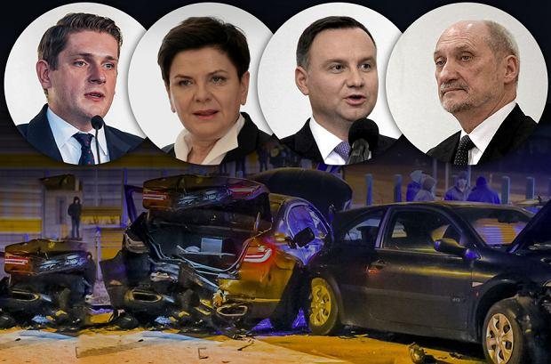 Wypadki członków rządu PiS i prezydenta Andrzeja Dudy