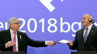 Przewodniczący Komisji Europejskiej Jean-Claude Juncker i premier Bułgarii Bojko Borisow podczas wspólnej konferencji prasowej z okazji przejęcia przez Bułgarię prezydencji w Radzie UE. Sofia,  12 stycznia 2018 r.