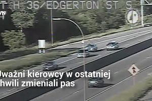 Na jadących tą autostradą czekała niemiła niespodzianka. Chwila nieuwagi mogła skończyć się tragicznie