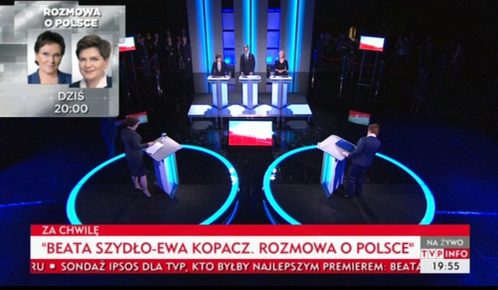 Ewa Kopacz i Beata Szydło w studiu TVP