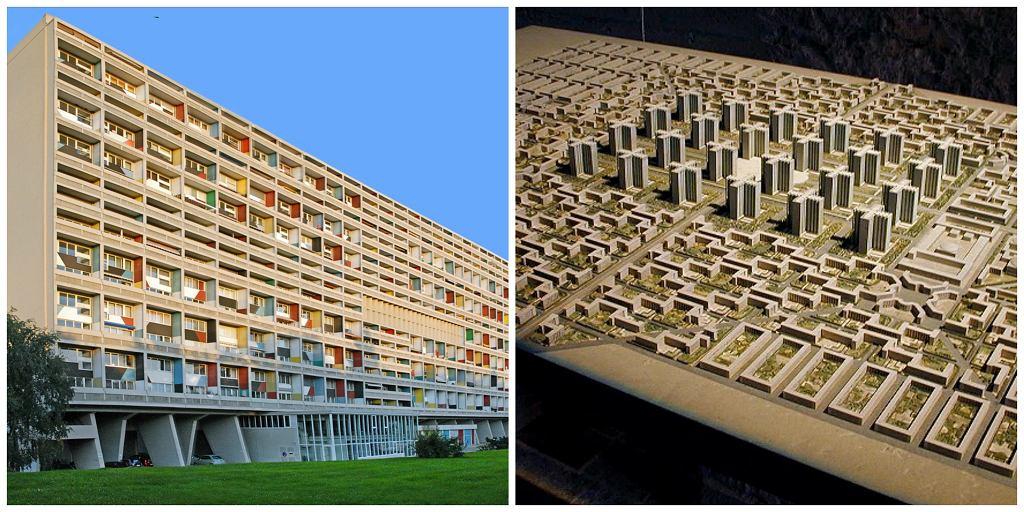 Po lewej słynna jednostka mieszkalna w Marsylii - unite d'habitation Marseilles, po prawej makieta miasta współczesnego dla trzech milionów mieszkańców - ville contemporaine (fot. Jean-Pierre Dalbéra / FLickr. com / CC BY 2.0 / Amber Case / Flickr.com / CC BY-NC 2.0)