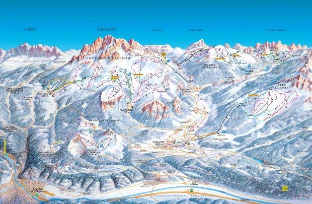 Mapa tras w Val di Fiemme