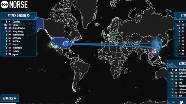 Mapa ataków hakerskich na żywo
