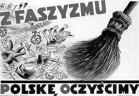 Przedwojenny polski antyfaszystowski plakat propagandowy