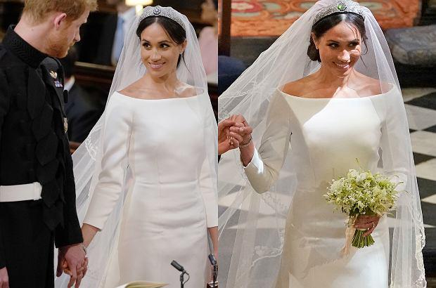 """Meghan Markle zdecydowała się na skromną suknię ślubną od Givenchy. Bardzo podobną miała kiedyś J.Lo w filmie """"Powiedz tak"""". Jednak podobieństw można szukać także gdzieś indziej."""