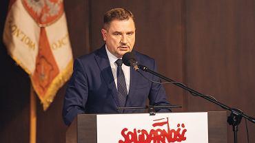 Przewodniczący NSZZ ' Solidarnośćc ' Piotr Duda podczas uroczystości w 36. rocznicę Porozumień Sierpniowych, Gdańsk.