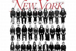 """35 z 40 kobiet oskar�aj�cych Billa Cosby'ego o gwa�t znalaz�o si� razem na ok�adce """"New York Magazine"""""""