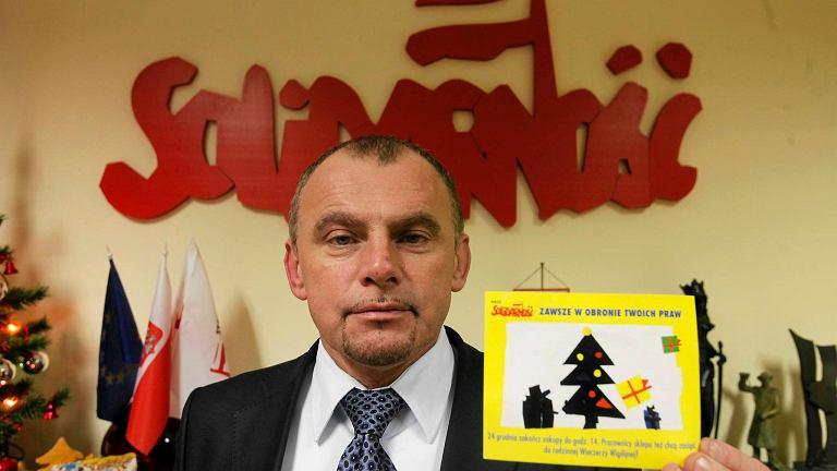 Alfred Bujara, przewodniczący handlowej 'Solidarności i współautor projektu ustawy ograniczającego handel w niedzielę