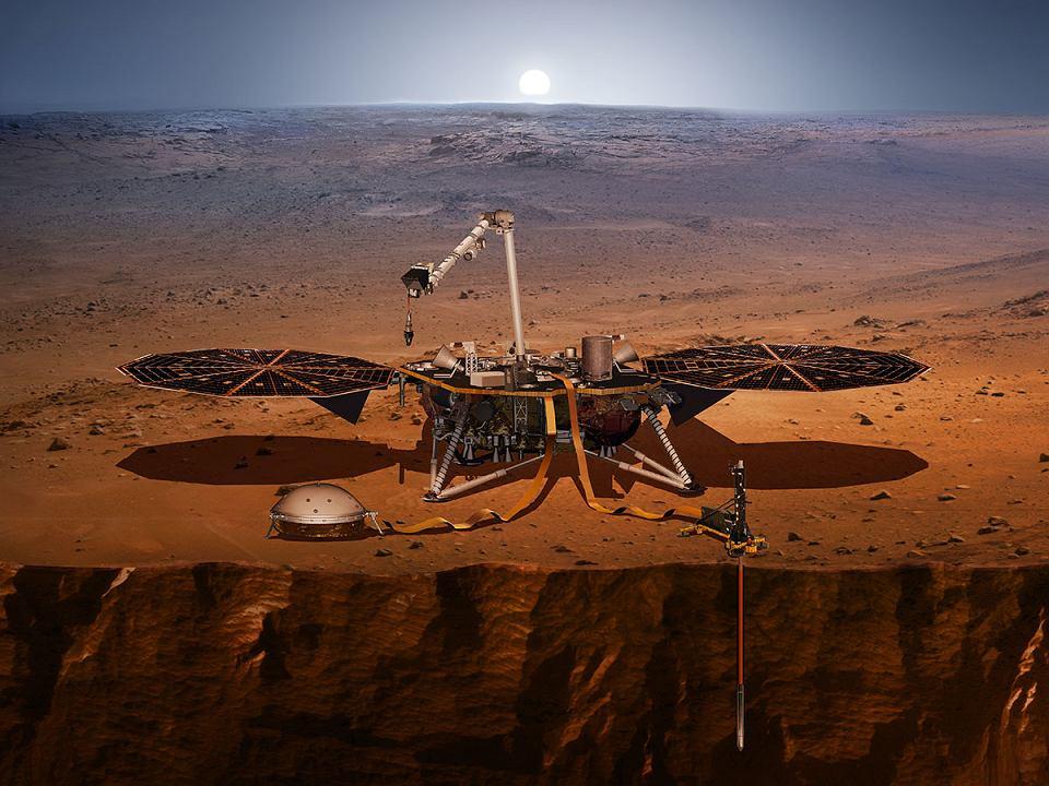 Tak będzie wyglądał lądownik InSight na powierzchni Marsa. Jeśli uda mu się wylądować w listopadzie 2018