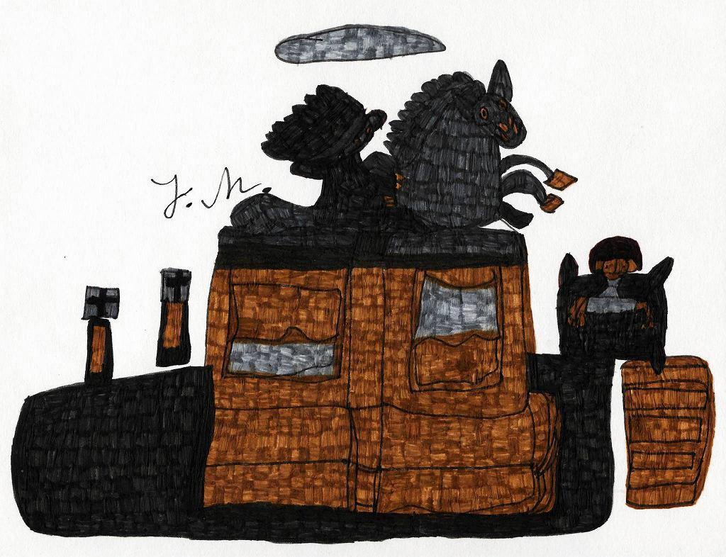 Praca Justyny Matysiak z wystawy 'Szara strefa sztuki - polscy twórcy art brut' w Państwowym Muzeum Etnograficznym / Fot. Edward Koprowski