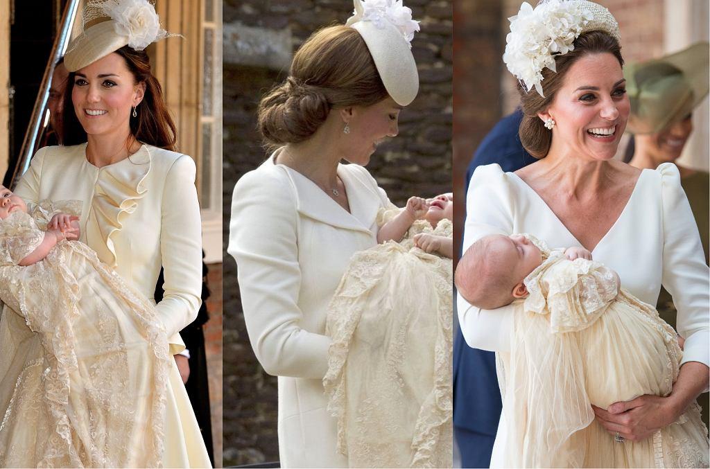 Księżna Kate na chrzcinach swoich dzieci: księcia George'a, księżniczki Charlotte i księcia Louisa