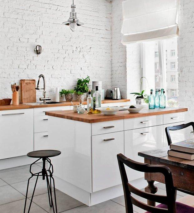 Z cegłą na ścianie -> Kuchnia Z Wyspą Ikea