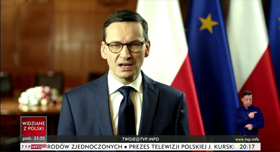 1.02.2018, premier RP Mateusz Morawiecki wygłasza orędzie.