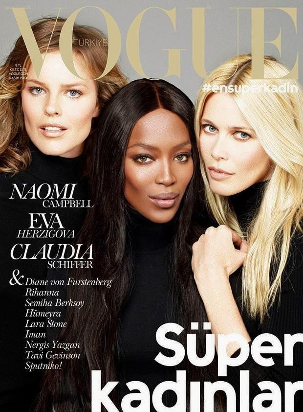 Eva Herzigova, Naomi Campbell i Claudia Schiffer we wspólnej sesji dla Vogue Turkey, listopad 2014