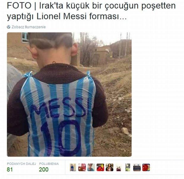 e43716cac Chłopiec z Iraku zrobił koszulkę Messiego z plastikowej torby! Chcą go  znaleźć i... - zdjęcie nr 4