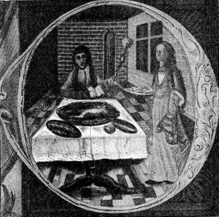 Wielkanocne święcenie pokarmów, XVI wiek. Miniatura w Pontyfikale Erazma Ciołka