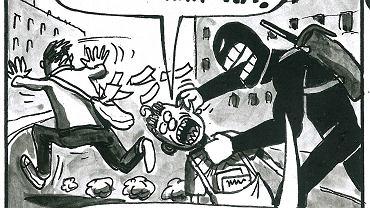 Plansza z komiksu 'Likwidator kontra dobra zmiana'